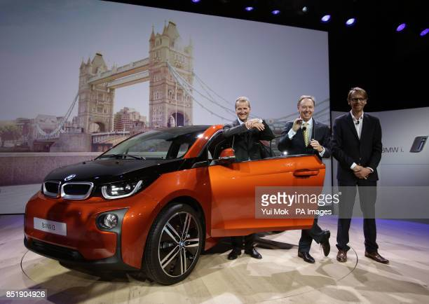 Dr Herbert Deiss BMW Board member responsible for RD Ian Robertson Global Head of Sales Marketing BMW and Benoit Jacob Head of Design BMW during the...