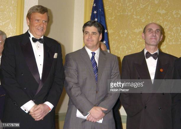 Dr Herbert London Sean Hannity and Hugh Grant during The Congress of Racial Equality Living The Dream Dinner January 17 2005 at The New York Hilton...