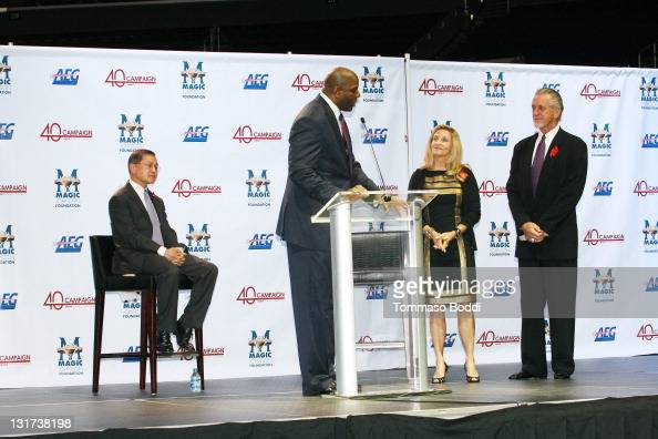 Dr Ho Retired basketball player Magic Johnson Chris Riley and Miami Heat president Pat Riley attend the 20th Anniversary Of The Magic Johnson...