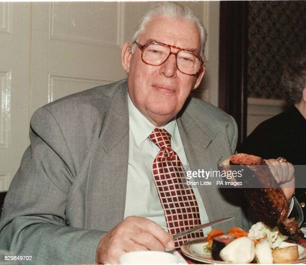 Dr Ian Paisley supporting the beef producers in Northern Ireland by eating a sirloin steak at the 25th anniversary dinner of the DUP Bannside branch...