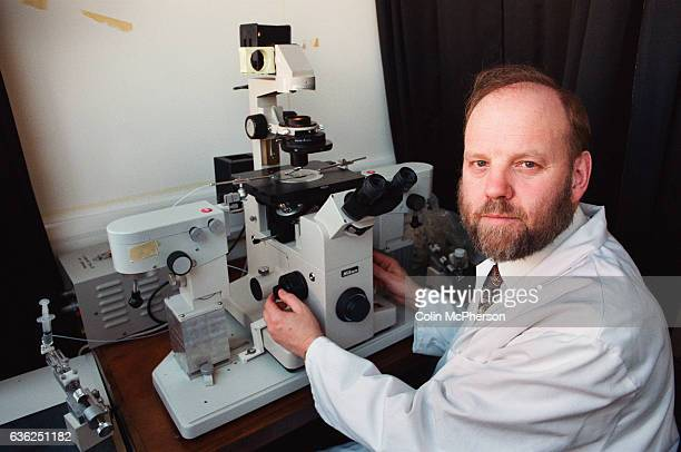 Dr Ian Wilmut one of the scientists behind the development of Dolly the first genetically copied sheep pictured in his laboratory at Roslin Institute...