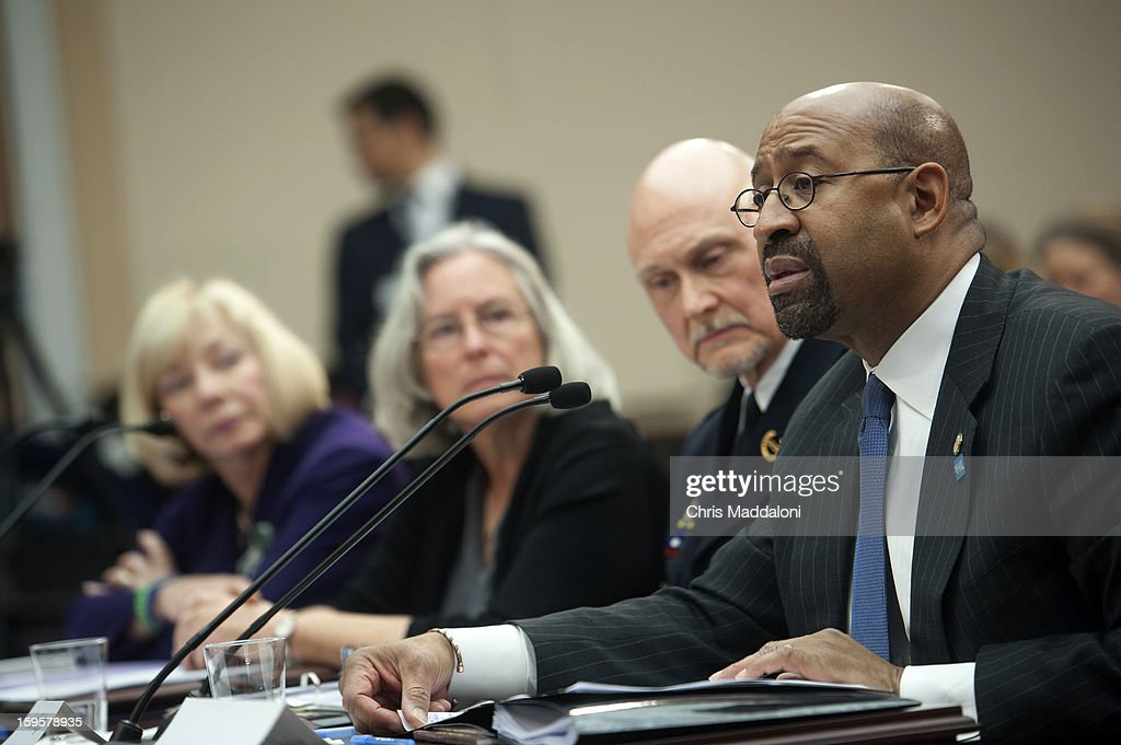 "Dr. Janet Robinson, Superintendent of Schools, Newtown, Connecticut; Emily Nottingham, mother of Gabe Zimmerman, who was killed at the Rep. Giffords shooting; Scott Knight, Chief of Police, City of Chaska, Minnesota; and Philadelphia Mayor Michael Nutter, testify at a House Democratic Steering and Policy Committee are holding a hearing titled ""Gun Violence Prevention: A Call to Action."""