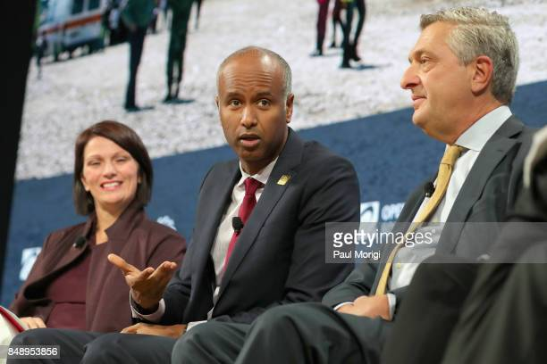 Dr Jennifer Bond Chair Global Refugee Sponsorship Initiative Hon Ahmed Hussen Minister of Immigration Refugees and Citizenship Canada and HE Filippo...
