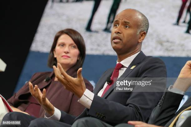 Dr Jennifer Bond Chair of Global Refugee Sponsorship Initiative and Hon Ahmed Hussen Minister of Immigration Refugees and Citizenship Canada speak at...