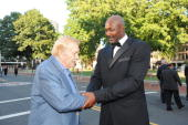 Dr Jerry Buss and Karl Malone enters the Red Carpet during the Basketball Hall of Fame Class of 2010 Induction Ceremony at the Symphony Hall on...