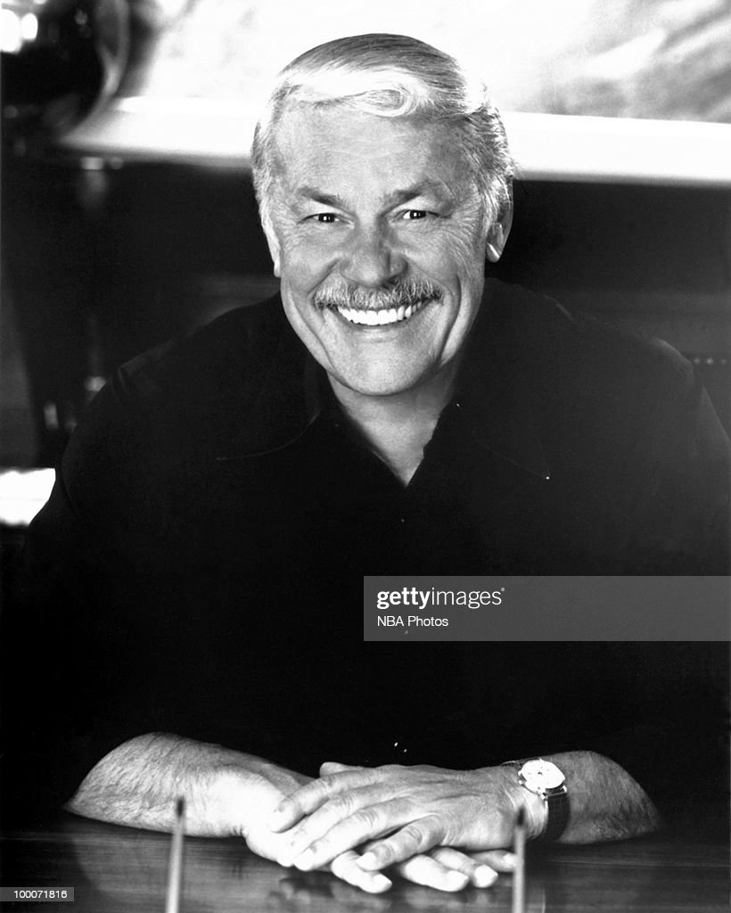 Dr. Jerry Buss, owner of the Los Angeles Lakers poses for a portrait circa 2000 at Staples Center in Los Angeles, California.