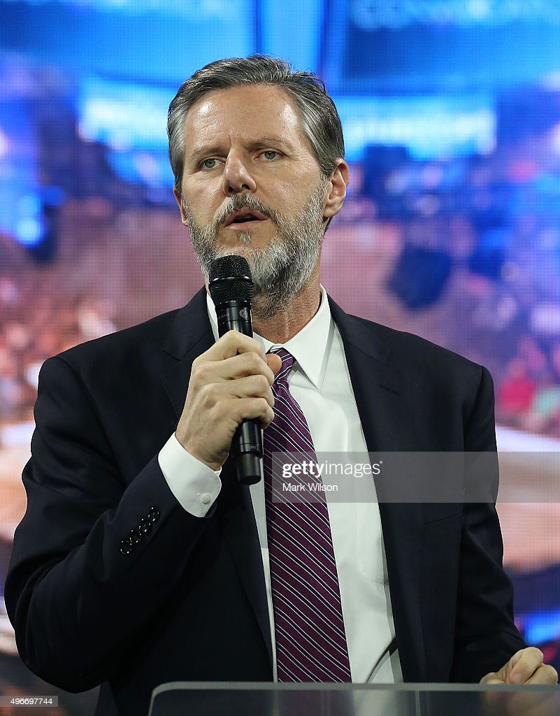 Dr Jerry Falwell President of Liberty University introduces US Republican President candidate Dr Ben Carson during a campaign rally at Liberty...