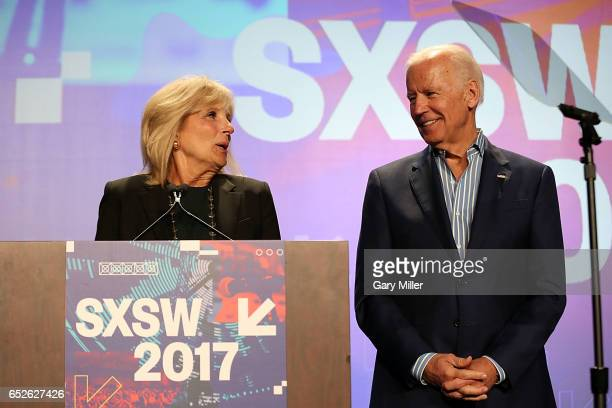 Dr Jill Biden and Former Vice President Joe Biden speak at the Austin Convention Center during the South By Southwest Festival on March 12 2017 in...