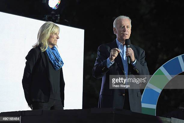 Dr Jill Biden and US Vice President Joseph Biden stand speak on stage at the 2015 Global Citizen Festival to end extreme poverty by 2030 in Central...