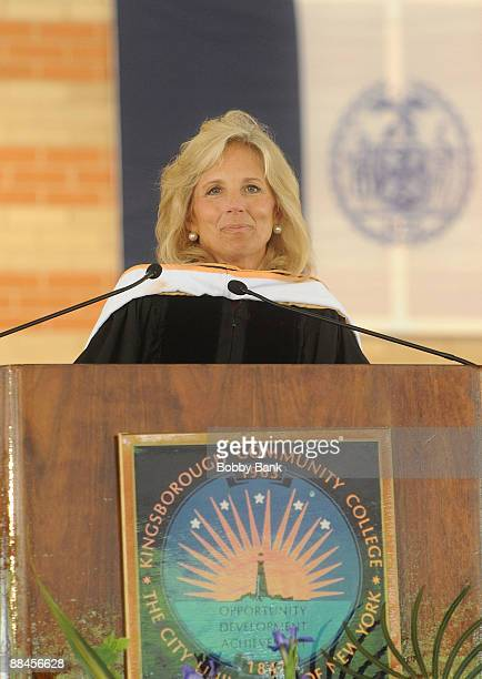 Dr Jill Biden delivers the commencement speech at Kingsborough Community College on June 12 2009 in New York City