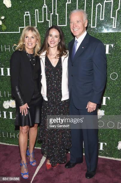 Dr Jill Biden Livelihood founder Ashley Biden and former Vice President Joe Biden attend Gilt x Livelihood launch event at Spring Place on February 7...