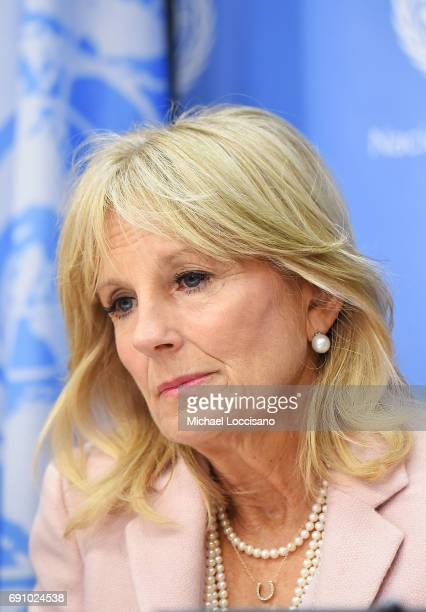 Dr Jill Biden Takes Part In The Stolen Childhood Report Launch Press Briefing At United Nations