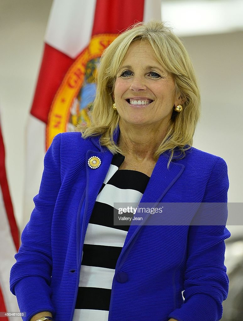 Dr. <a gi-track='captionPersonalityLinkClicked' href=/galleries/search?phrase=Jill+Biden&family=editorial&specificpeople=997040 ng-click='$event.stopPropagation()'>Jill Biden</a> visits Broward College Aviation Institute and addresses a group of educators to discuss the recent selection of Broward College to lead a $24.5 million grant to twelve schools in seven states focused on training workers for careers in supply chain management on November 18, 2013 in Fort Lauderdale, Florida.