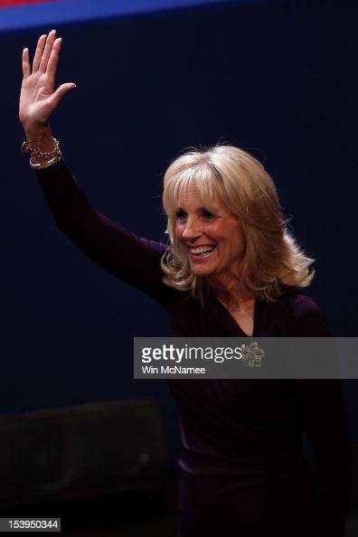 Dr Jill Biden wife of Joe Biden waves to the crowd prior to the vice presidential debate at Centre College October 11 2012 in Danville Kentucky This...