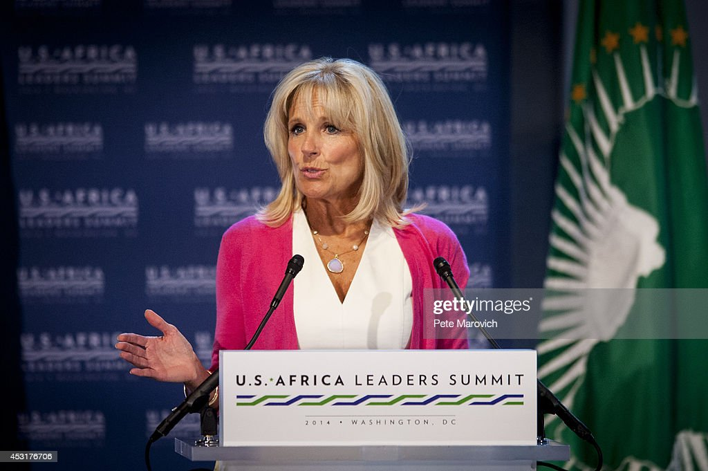 Dr. Jill Biden, wife of Vice President Joe Biden, speaks at the Resilience and Food Security in Changing Climate Forum at the National Academy of Sciences as part of the first U.S.-Africa Leaders Summit on August 4, 2014 in Washington, DC. The event brings together U.S. and African government leaders, members of African and U.S. civil society and the diaspora, and private sector leaders, focusing on using the knowledge and experience of citizens and civil society to solve the key challenges of our time.