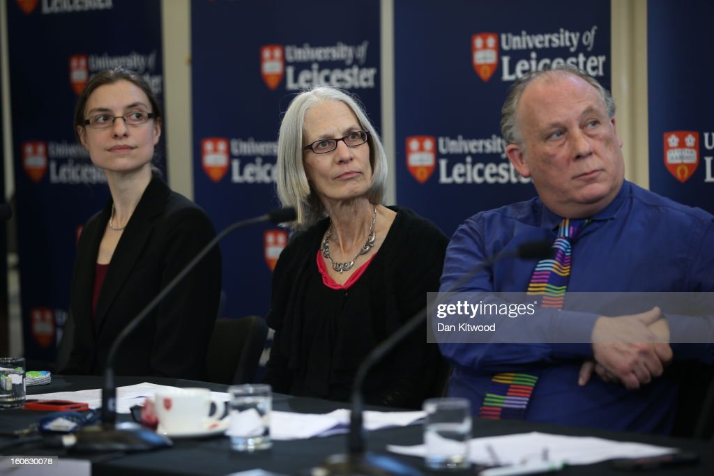 Dr Jo Appleby, Professor Lin Foxhall and Professor Kevin Schuerer attend a press conference at University Of Leicester as archaeologists announce whether the human remains found in Leicester are those of King Richard III on February 4, 2013 in Leicester, England. The University of Leicester has been carrying out scientific investigations on remains found in a car park to find out whether they are those of King Richard III since last September, when the skeleton was discovered in the foundations of Greyfriars Church, Leicester.