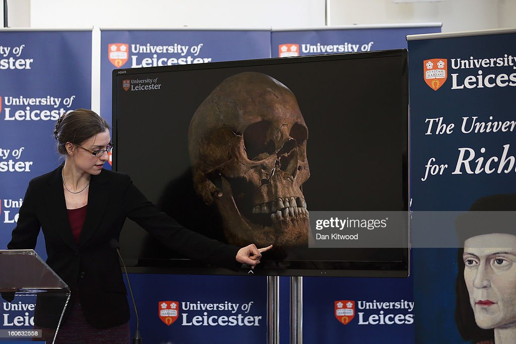 Dr Jo Appleby speaks during a press conference at University Of Leicester as archaeologists announce whether the human remains found in Leicester are those of King Richard III on February 4, 2013 in Leicester, England. The University of Leicester has been carrying out scientific investigations on remains found in a car park to find out whether they are those of King Richard III since last September, when the skeleton was discovered in the foundations of Greyfriars Church, Leicester.
