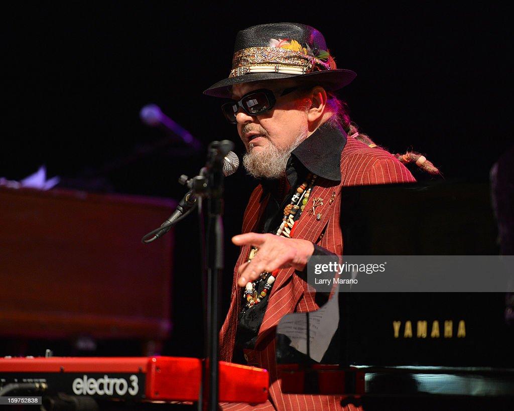 Dr. John performs during the Sunshine Blues Festival at Mizner Park Amphitheatre on January 19, 2013 in Boca Raton, Florida.