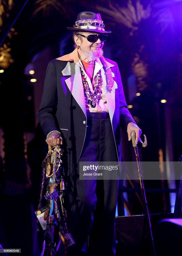 Dr John performs on stage during day 2 of the 2016 NAMM Show at the Anaheim Convention Center on January 22 2016 in Anaheim California