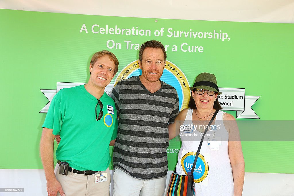 Dr. John Timmerman, Bryan Cranston and Dr. Lauren Pinter-Brown at UCLA's Lymphoma Program 'A Celebration Of Survivorship - On Track For A Cure' held at UCLA's Drake Stadium on October 7, 2012 in Westwood, California.
