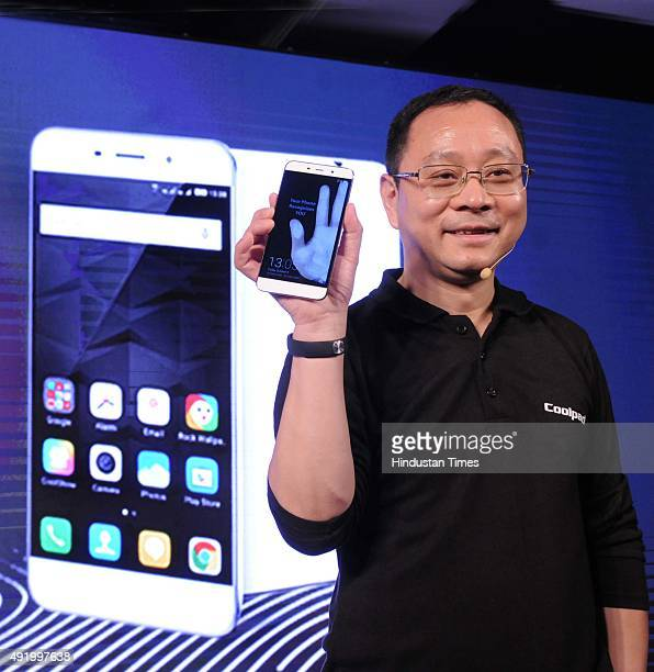 Dr Johnson Luo Vice President of Coolpad Group launches the fingerprint scanner smartphone Coolpad Note 3 on October 9 2015 in New Delhi India...