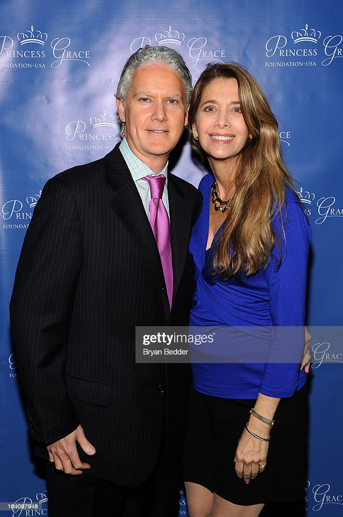 Dr. Jon Turk and Lynda Rufo, Trustees at Princess Grace Foundation-USA attend the Kick Off Event for the Princess Grace Foundation - USA Guild, For Emerging Theatre, Dance & Film Artists at Blue Ribbon Kanpai Garden, Thompson LES Hotel on March 19, 2013 in New York City.