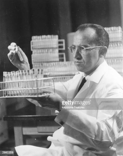 Dr Jonas Salk who discovered the first vaccine against poliomyelitis at work in the Virus Research Laboratory at the University of Pittsburgh Medical...