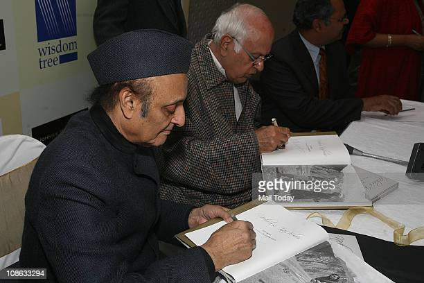 Dr Karan Singh and Union Minister Farooq Abdullah at the launch of book 'Nehru's Kashmir' authored by eminent photojournalist Sati Sahni