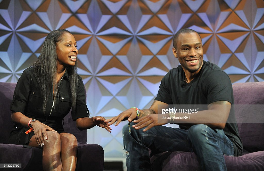 Dr. Keisha Downey (L) and journalist Marc Lamont Hill speak at the