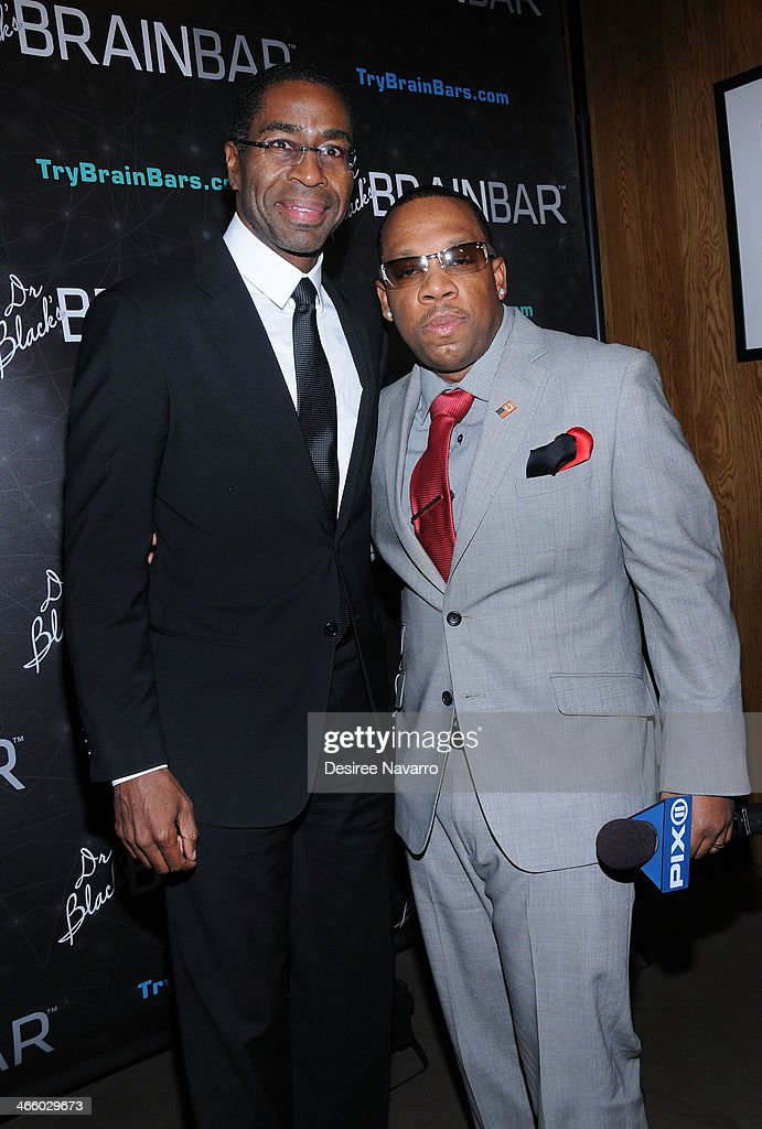 Dr. Keith Black and TV personality Mike Bivins attend Dr. Black's Brain Bar Super Bowl XLVIII Launch Event at PH-D Rooftop Lounge at Dream Downtown on January 30, 2014 in New York City.