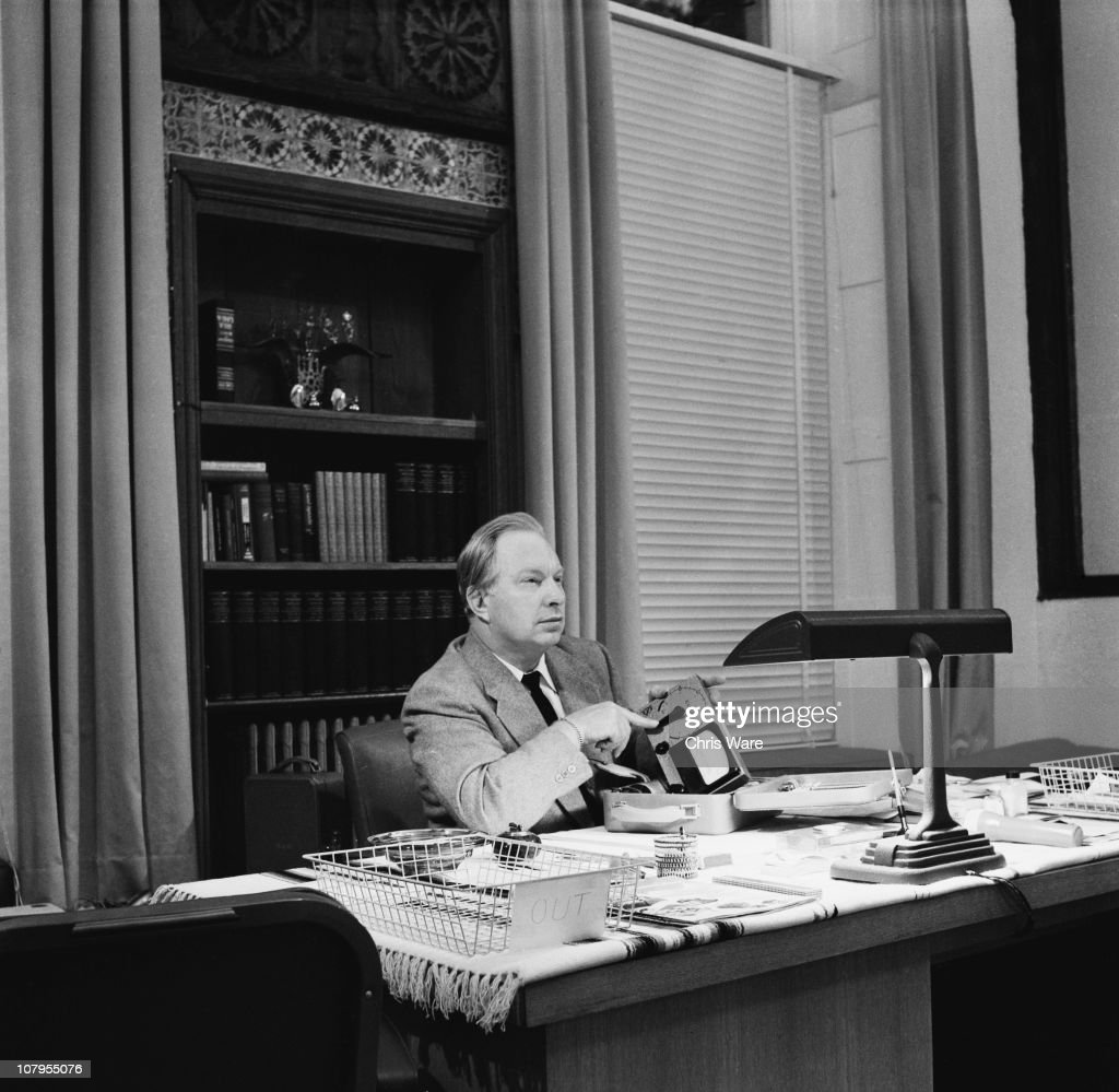 Dr Lafayette Ronald Hubbard writer of science fiction and founder of the Church of Scientology in America December 1959 He is in the office of his...