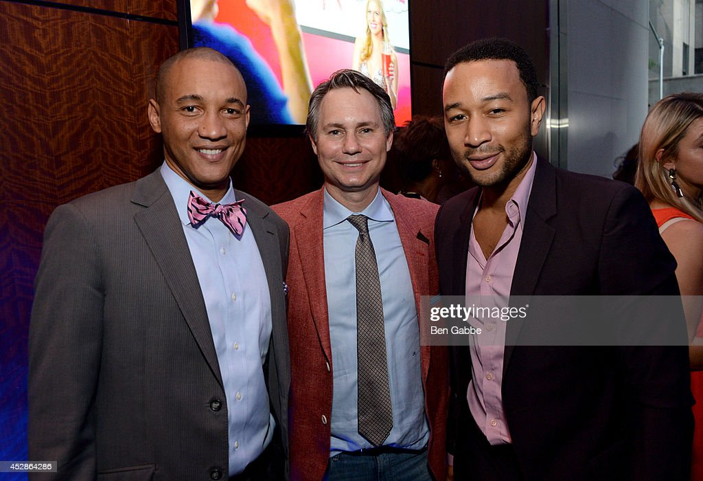 Dr. Lee Gause, founder of DuJour Media Group Jason Binn and singer-songwriter John Legend attend DuJour Magazine and NYY Steak celebrating Chrissy Teigen with FENDI timepieces and Moet Ice on July 28, 2014 in New York City.