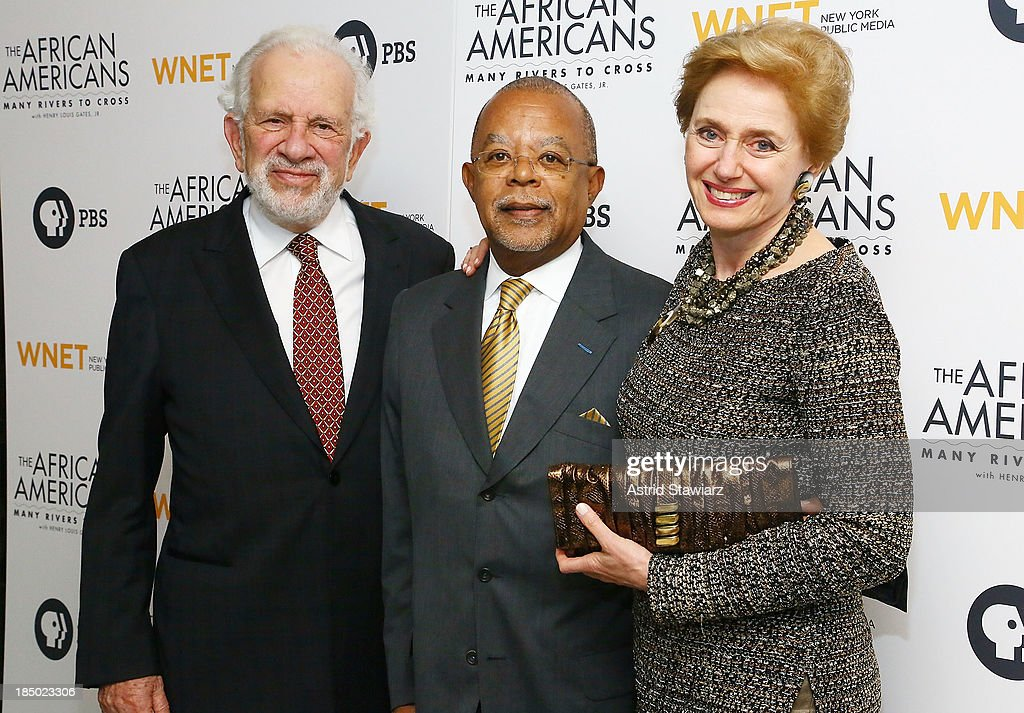 Dr. Leonard Polonksy, <a gi-track='captionPersonalityLinkClicked' href=/galleries/search?phrase=Henry+Louis+Gates+Jr.&family=editorial&specificpeople=2492935 ng-click='$event.stopPropagation()'>Henry Louis Gates Jr.</a> and Dr. Georgette Bennett attend 'The African Americans: Many Rivers to Cross' New York Series Premiere at the Paris Theater on October 16, 2013 in New York City.