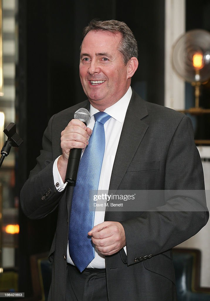 Dr. Liam Fox shows armed forces support at the 'Give Us Time' fundraiser held at Corinthia Hotel London on November 14, 2012 in London, England.