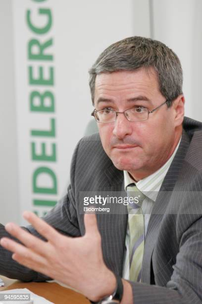 Dr Lorenz Naeger chief financial officer of HeidelbergCement AG speaks at a press conference in Heidelberg Germany Tuesday May 15 2007...