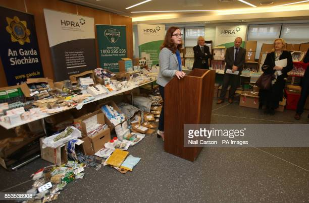 Dr Lorraine Nolan chief executive of the Health Products Regulatory Authority stands in front of illegal medicines seized as part of a Europewide...