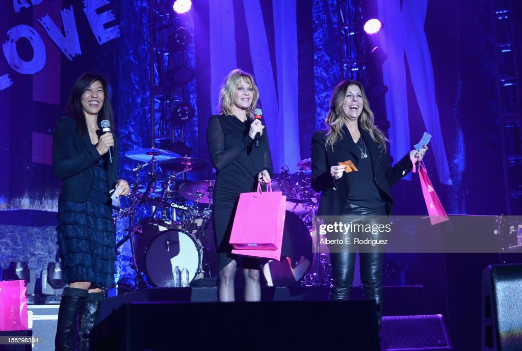 Dr. Maggie DiNome, actresses Melanie Griffith, and Rita Wilson onstage at the St. John's Health Center's Power Of Pink benefiting The Margie Petersen Breast Center at Sony Studios on November 12, 2012 in Los Angeles, California.