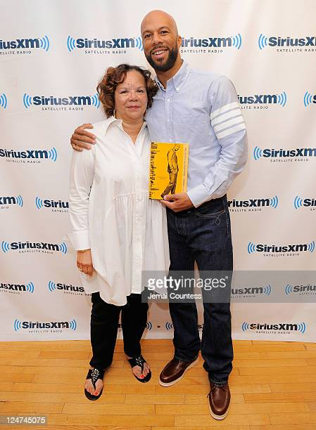 Dr Mahalia Hines and musician Common pose for a photo as Common promotes his new book 'One Day It Will All Make Sense' during a visit to SiriusXM...