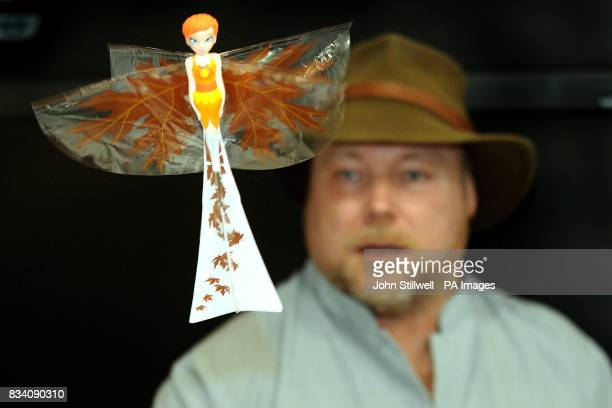 Dr Mark Tilden flies his spring Fairfly which he designed at the 2008 Toy Fair at ExCel exhibition centre East London