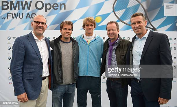 Dr Markus Fischer CFO of FWU Tommy Haas of Germany Alexander Zverev of Germany Hans De Visser BMW Group and Patrik Kuhnen Tournament Director pose...