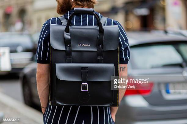 Dr Martens backpack during the first day of the Copenhagen Fashion Week Spring/Summer 2017 on August 10 2016 in Copenhagen Denmark