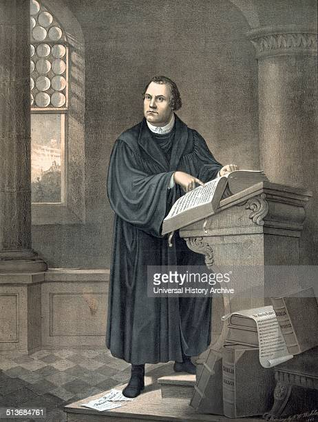 Dr Martin Luther 14831546 fulllength portrait standing facing slightly left reading in church