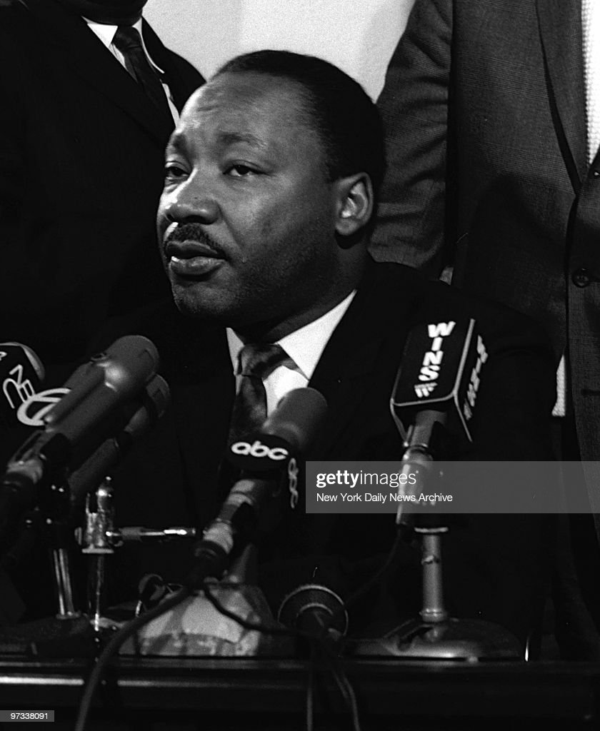 Dr Martin Luther King during press conference at Mount Calvary Missionary Baptist Church