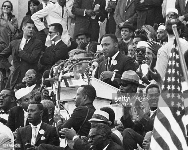 Dr Martin Luther King Jr addresses the crowd on the steps of the Lincoln Memorial during the historic March on Washington