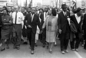 Dr Martin Luther King Jr arrives in Montgomery Alabama on March 25th 1965 at the culmination of the Selma to Montgomery March Pictured from left...