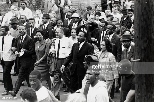 Dr Martin Luther King Jr arrives in Montgomery at the culmination of the Selma to Montgomery March 25th March 1965 Pictured from left are John Lewis...