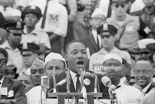 Dr Martin Luther King Jr delivers his famous 'I Have a Dream' speech in front of the Lincoln Memorial during the Freedom March on Washington in 1963