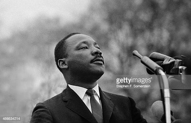 Dr Martin Luther King Jr speaking before crowd of 25000 Selma To Montgomery Alabama civil rights marchers in front of Montgomery Alabama state...