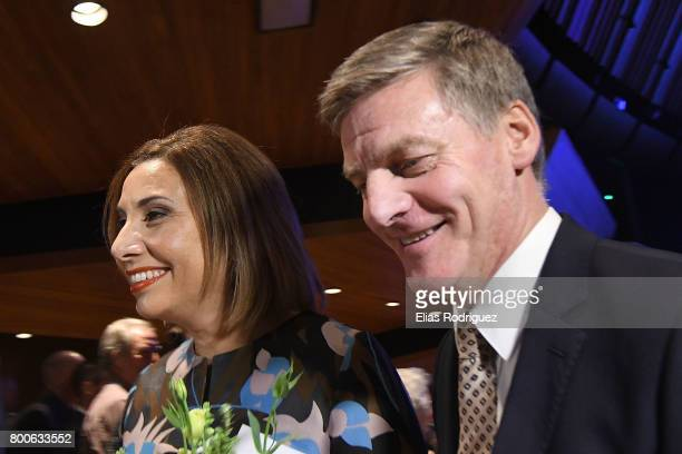 Dr Mary Scanlon and Prime Minister Rt Hon Bill English leave the National Party 81st Annual Conference at Michael Fowler Centre on June 25 2017 in...