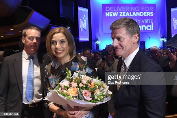 Dr Mary Scanlon and Prime Minister Rt Hon Bill English leaving the National Party 81st Annual Conference at Michael Fowler Centre on June 25 2017 in...